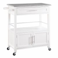 Spacious Wooden Kitchen Cart with Granite Inlaid Top, White and Gray