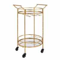 Benzara BM144187 Transitional Style Round Metal Bar Cart with 2 Mirror Shelves, Gold - 33.5 x