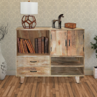 Farmhouse Style Mango Wood Display Unit with 2 Drawer Storage in Brown - 1