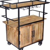 The Urban Port UPT-197312 Wood & Metal Bar Cart with Double Door Storage & Casters, Brown & B