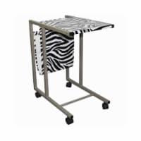 Saltoro Sherpi Fabric and Metal Laptop Cart with Animal Print, White and Black - 1 unit