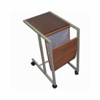 Saltoro Sherpi Fabric and Metal Laptop Cart with Wooden Top, Gray and Brown - 1 unit