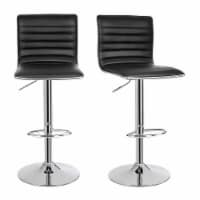 Saltoro Sherpi Leatherette Bar Stool with Adjustable Height, Set of 2, Black and Silver - 1 unit