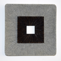 Saltoro Sherpi Square Shaped Wall Decor with Ribbed Details, Large, Brown and Gray - 1 unit