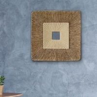 Saltoro Sherpi Square Sandstone Wall Decor with Ribbed Details, Medium, Brown and Beige - 1 unit