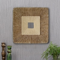 Saltoro Sherpi Square Sandstone Wall Decor with Ribbed Details, Large, Brown and Beige - 1 unit