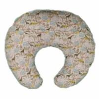 Saltoro Sherpi C Shaped Polyester Upholstered Baby Nursing Pillow with Animal Print, - 1 unit