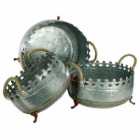 Saltoro Sherpi Metal Crown Style Planters with Golden Accenting, Gray, Set of 3 - 1 unit
