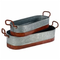 Saltoro Sherpi Metal Planters with Ribbed Body, Gray and Brown, Set of 2 - 1 unit
