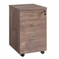 Saltoro Sherpi Wooden File Cabinet with Casters and 3 Drawers, Hazelnut - 1 unit