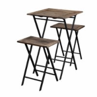 Saltoro Sherpi 3 Piece Foldable Wood and Metal Dining Set with X Frame Leg,Brown and Black - 1 unit