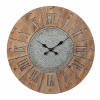 Saltoro Sherpi Round Wooden Frame Wall Clock with Metal Accents, Brown and Gray - 1 unit