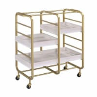 Benjara BM211119 Metal Frame Serving Cart with Adjustable Compartments - Gold & Washed White