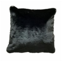 Saltoro Sherpi 20 X 20 Inch Fabric Upholstered Accent Pillow with Fur Like Texture, Black - 1 unit