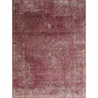 Saltoro Sherpi 7 X 5 Feet  Polyester Rug with Distressed Medallion Pattern, Red - 1 unit
