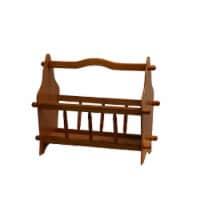 Saltoro Sherpi 14 Inches Wooden Magazine Rack with Turned Slats on Side Rails, Oak Brown - 1 unit