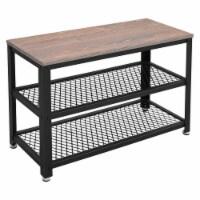 Saltoro Sherpi Wooden Top Shoe Bench with 2 Open Metal Mesh Shelves, Rustic Brown and Black - 1 unit