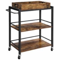 Saltoro Sherpi Tray Top Wooden Kitchen Cart with 2 Shelves and Casters, Brown and Black - 1