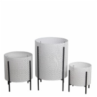 Saltoro Sherpi Metal Planters with Floral Hexagon Cut Out Design, Set of 3,White and Black - 1 unit