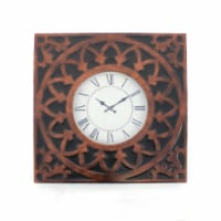 Saltoro Sherpi Baroque Design Metal Wall Clock with Roman Numerals, Brown and Black - 1 unit
