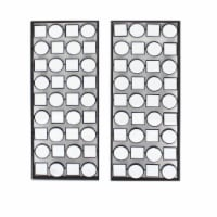 Saltoro Sherpi Wall Plaque with Alternate Square and Round Mirrors, Set of 2, Gray - 1 unit