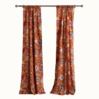 Saltoro Sherpi 4 Piece Polyester Window Panel Set with Floral Print, Multicolor - 1 unit