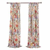 Saltoro Sherpi 4 Piece Polyester Window Panel Set with Floral Print, Large, Multicolor - 1 unit