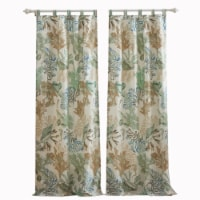 Saltoro Sherpi 4 Piece Polyester Window Panel Set with Coral Print, Jade Green and White - 1 unit