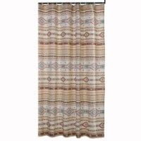 Saltoro Sherpi Polyester Shower Curtain with Traditional Kilim Pattern, Multicolor - 1 unit