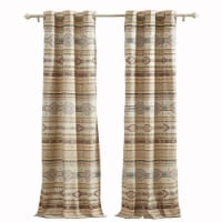 Saltoro Sherpi Polyester Panel Pair with Kilim Pattern and 2 Tie Backs, Multicolor - 1 unit