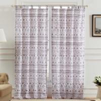 Saltoro Sherpi Polyester Window Curtain with Geometric Motif, Set of 2, Multicolor - 1 unit