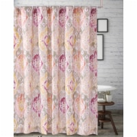 Saltoro Sherpi Fabric Shower Curtain with Medallion Pattern and Button Holes, Multicolor - 1 unit