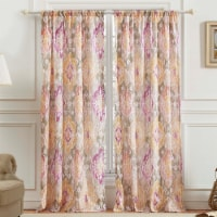 Saltoro Sherpi Fabric Panel Curtains with Medallion Pattern, Set of 4, Multicolor - 1 unit