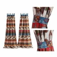 Saltoro Sherpi Fabric Panel Curtains with Tribal Art and Tiebacks, Set of 4, Multicolor - 1 unit