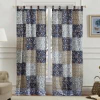 Saltoro Sherpi 4 Piece Cotton Window Panel Set with Leaf Print, Blue and White - 1 unit
