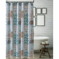 Saltoro Sherpi Sea Life Print Shower Curtain with Button holes, Blue and Brown - 1 unit