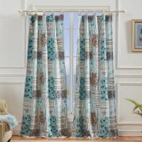 Saltoro Sherpi Sea Life Print Curtain Panel with Tie Backs, Set of 4, Blue and Brown - 1 unit