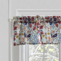 Saltoro Sherpi Lined Polyester Valance with Two Inch Header and Floral Prints, Multicolor - 1 unit