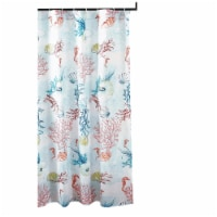Saltoro Sherpi Polyester Shower Curtain with Coral Prints, Multicolor - 1 unit