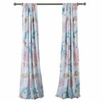 Saltoro Sherpi Polyester Panel Pair with Coral Prints and 2 Tie Backs, Multicolor - 1 unit