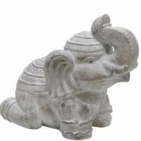 Benjara BM221080 Polyresin Frame Kneeling Elephant Figurine with Raised Trunk, Gray - 1