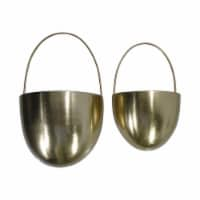 Saltoro Sherpi Oval Shape Metal Wall Planter with Attached Hanger, Set of 2, Gold - 1 unit