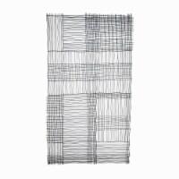 Saltoro Sherpi 40 Inches Grid Design Rectangular Metal Wall Decor, Black - 1 unit