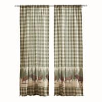 Saltoro Sherpi Fabric Panel Curtain with Animal and Plaid Print, Set of 4, Brown and Green - 1 unit