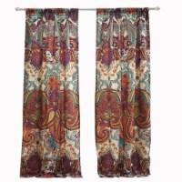 Saltoro Sherpi 4 Piece Polyester Window Panel Set with Jacobean Print, Multicolor - 1 unit