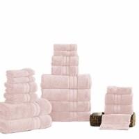 Saltoro Sherpi Bergamo 18 Piece Spun loft Towel Set with Striped Pattern The Urban Port, Pink - 1 unit