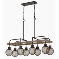 Saltoro Sherpi 8 Bulb Chandelier with Wooden Frame and Metal Orb Shades, Brown and Black - 1 unit