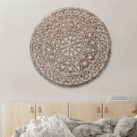 30 Inch Round Wooden Carved Wall Art with Intricate Cutouts, Distressed White ,Saltoro Sherpi