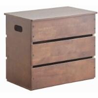 Saltoro Sherpi Plank Style Wooden Storage Box with Cut Out Handles, Dark Brown - 1 unit