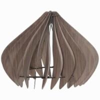 Saltoro Sherpi 60 Watt Semi Cage Shape Wooden Ceiling Pendant, Walnut Brown - 1 unit
